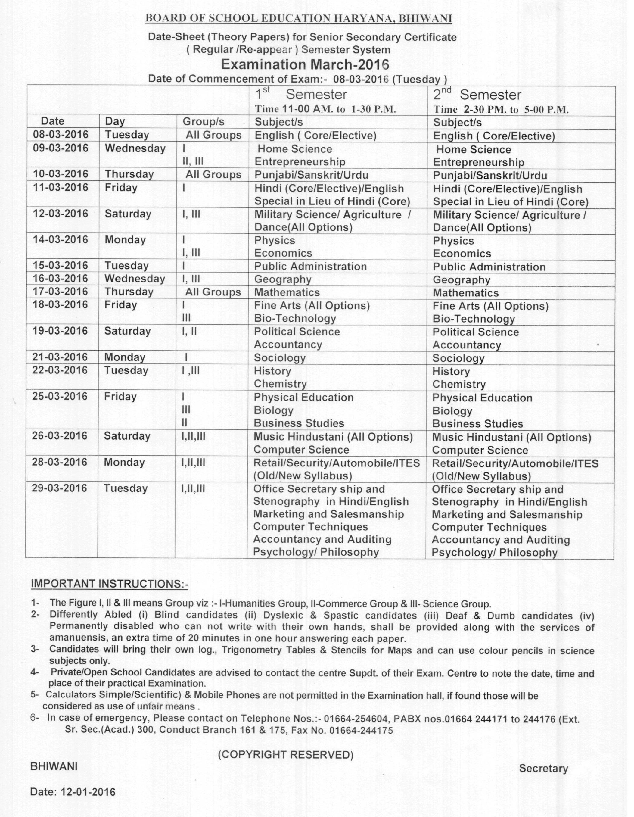 12th calss data sheet haryana board 1
