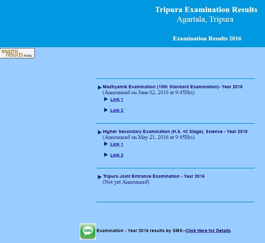 Triura Examination Results 2016 Madhyamik 10th std