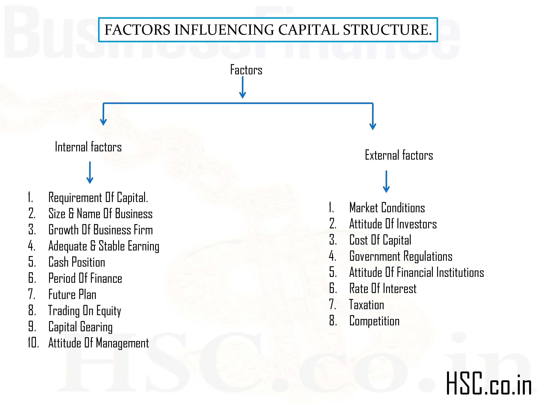 FACTORS INFLUENCING CAPITAL STRUCTURE