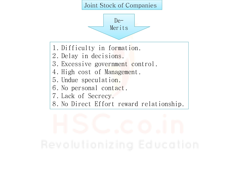 De-merits of joint stock companies