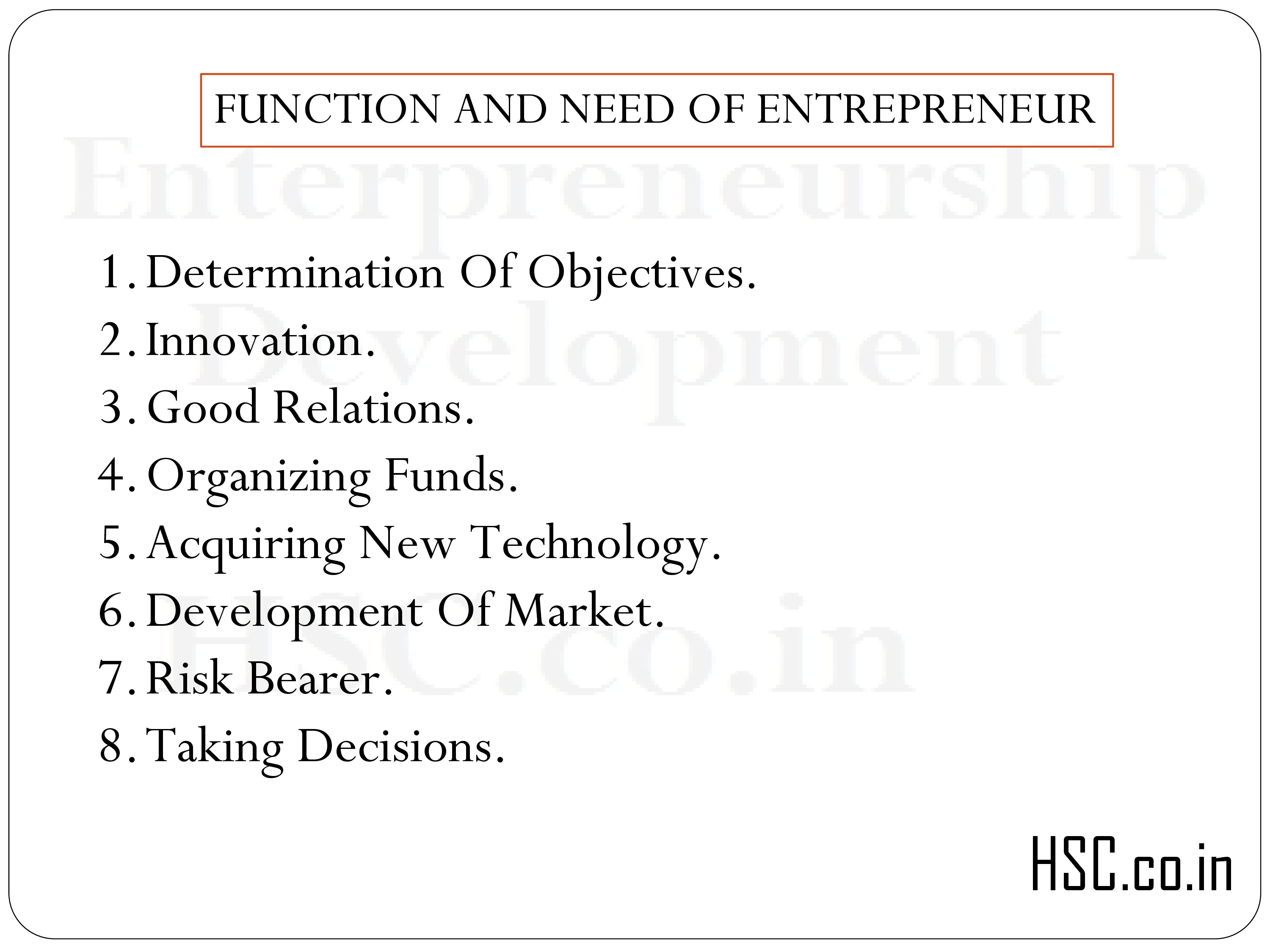 FUNCTION AND NEED OF ENTREPRENEUR