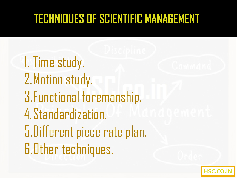 techniques of scientific management
