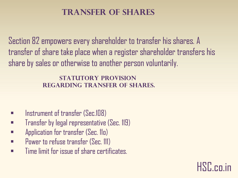 Transfer of shares
