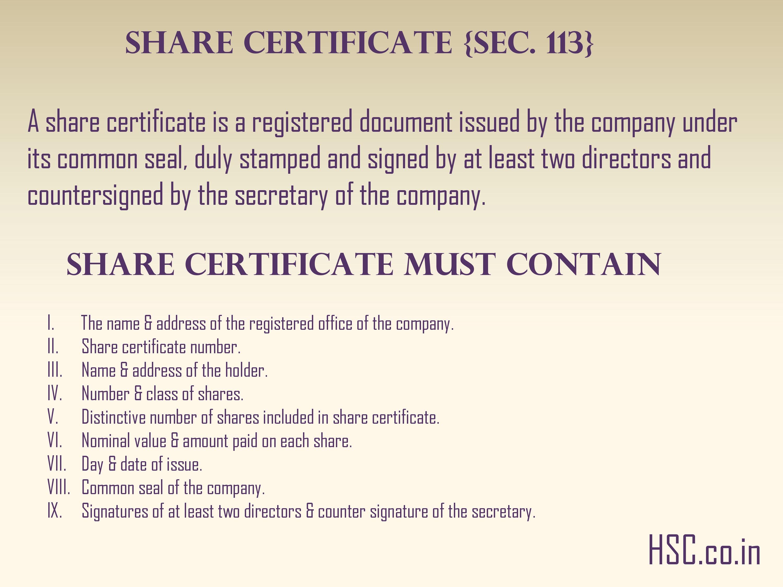 SHARE CERTIFICATE {SEC. 113}