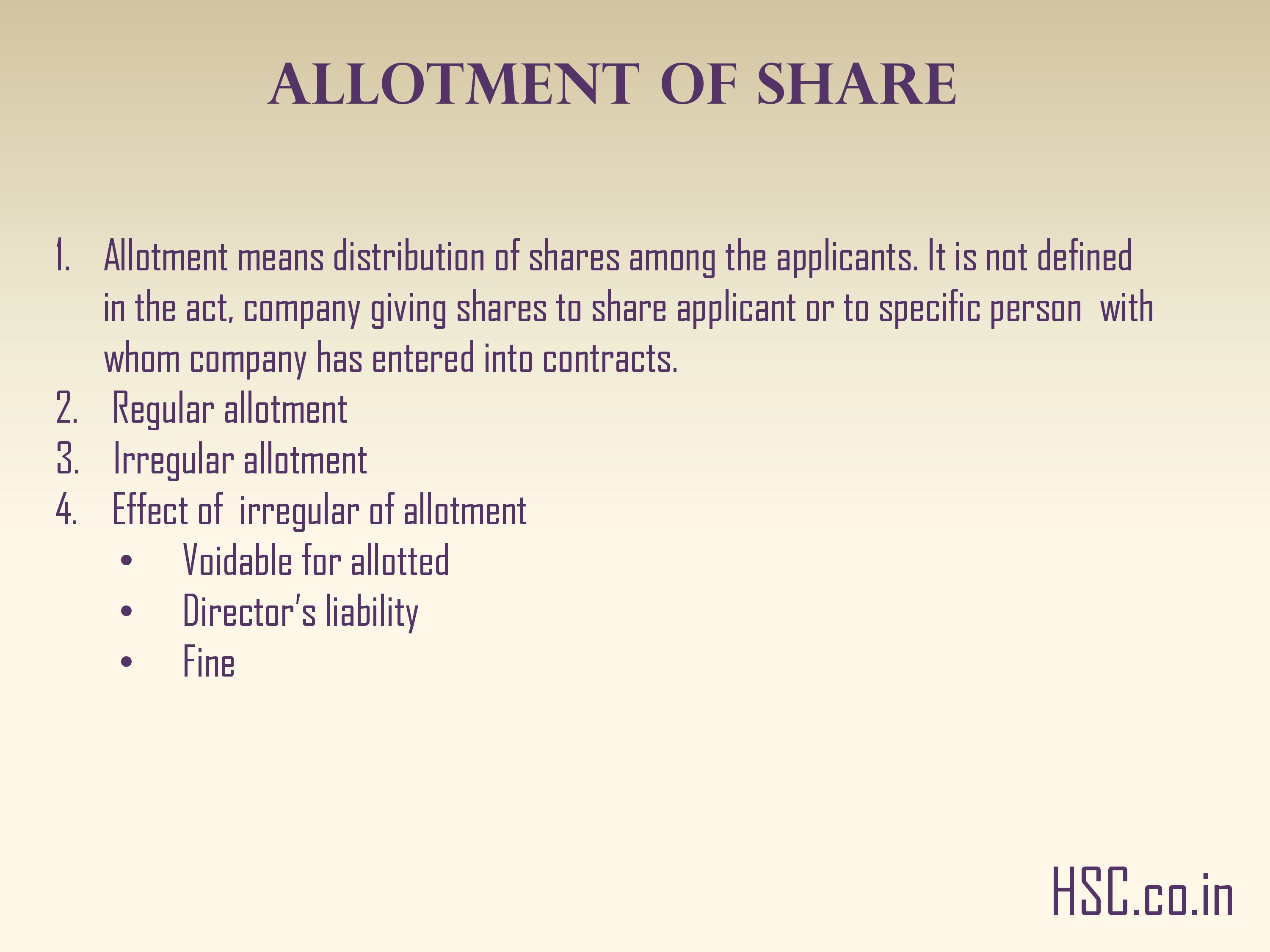 ALLOTMENT OF SHARE