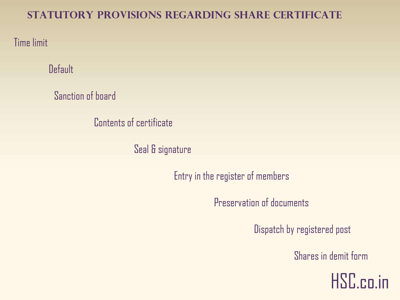 Statutory provisions regarding share certificate