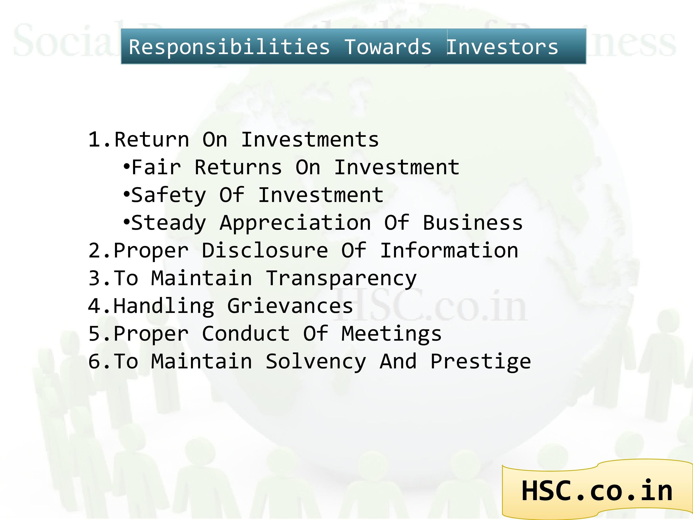 responsibility to investors