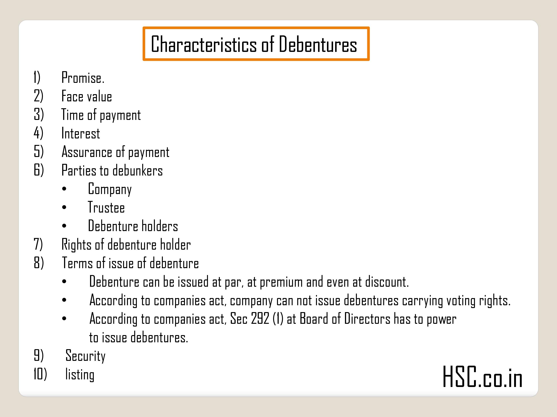 Characteristics of Debentures