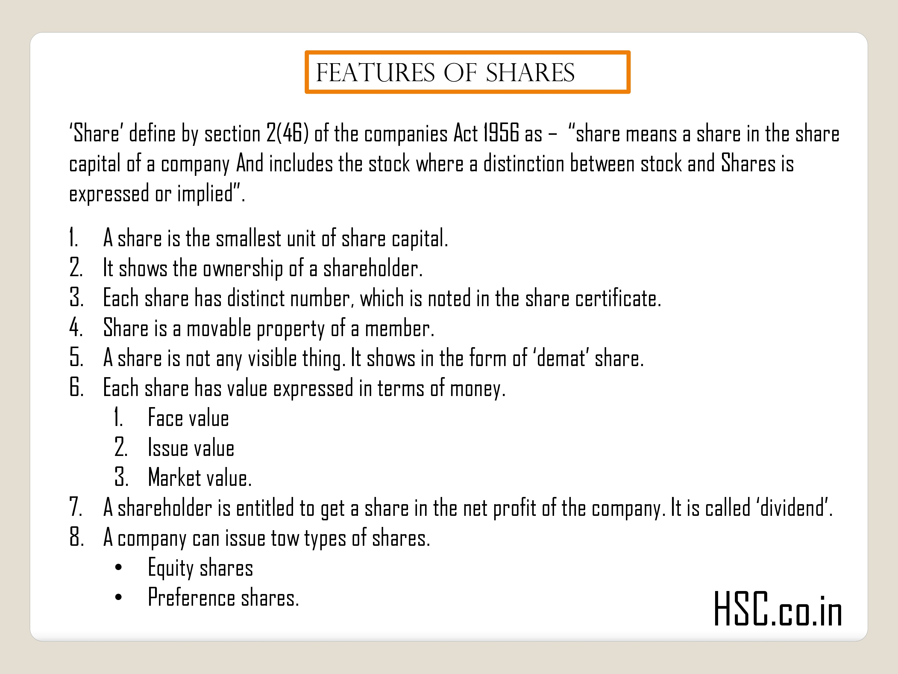 Features of shares