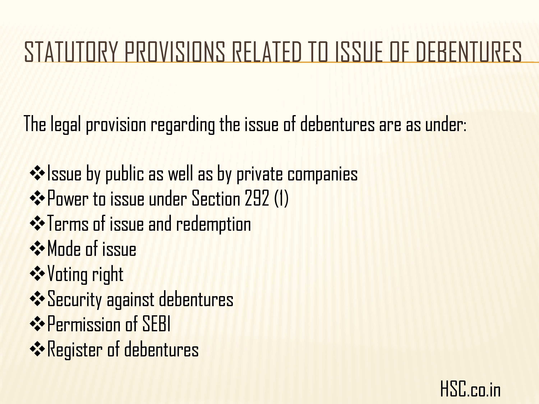 issued of debenture
