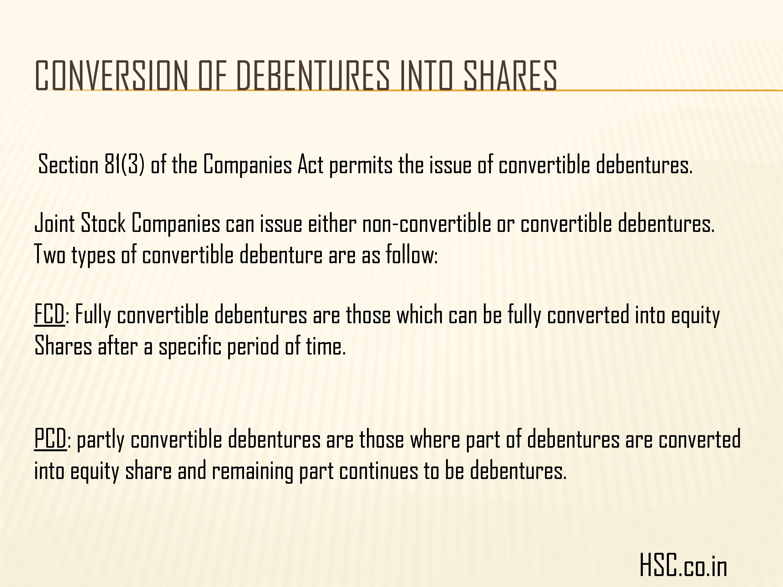 issue of debenture