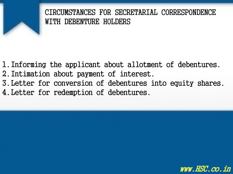 secretarial correspondence with debenture holders