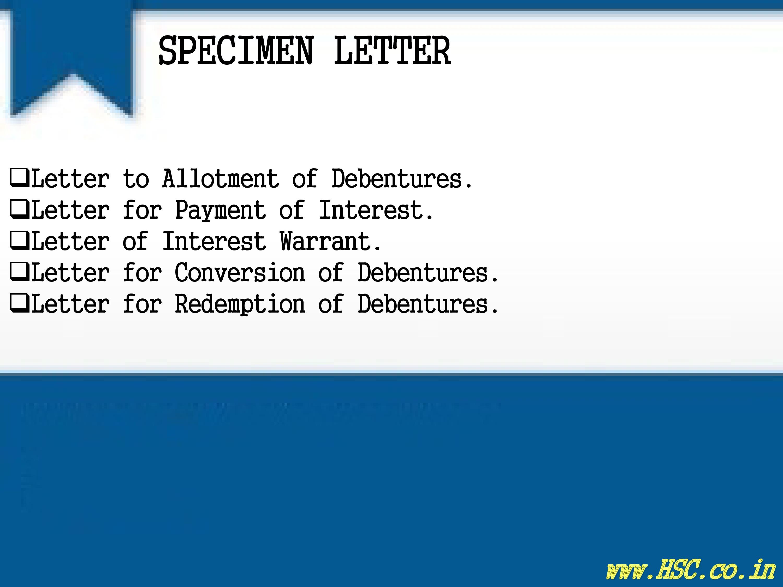 specimen letter