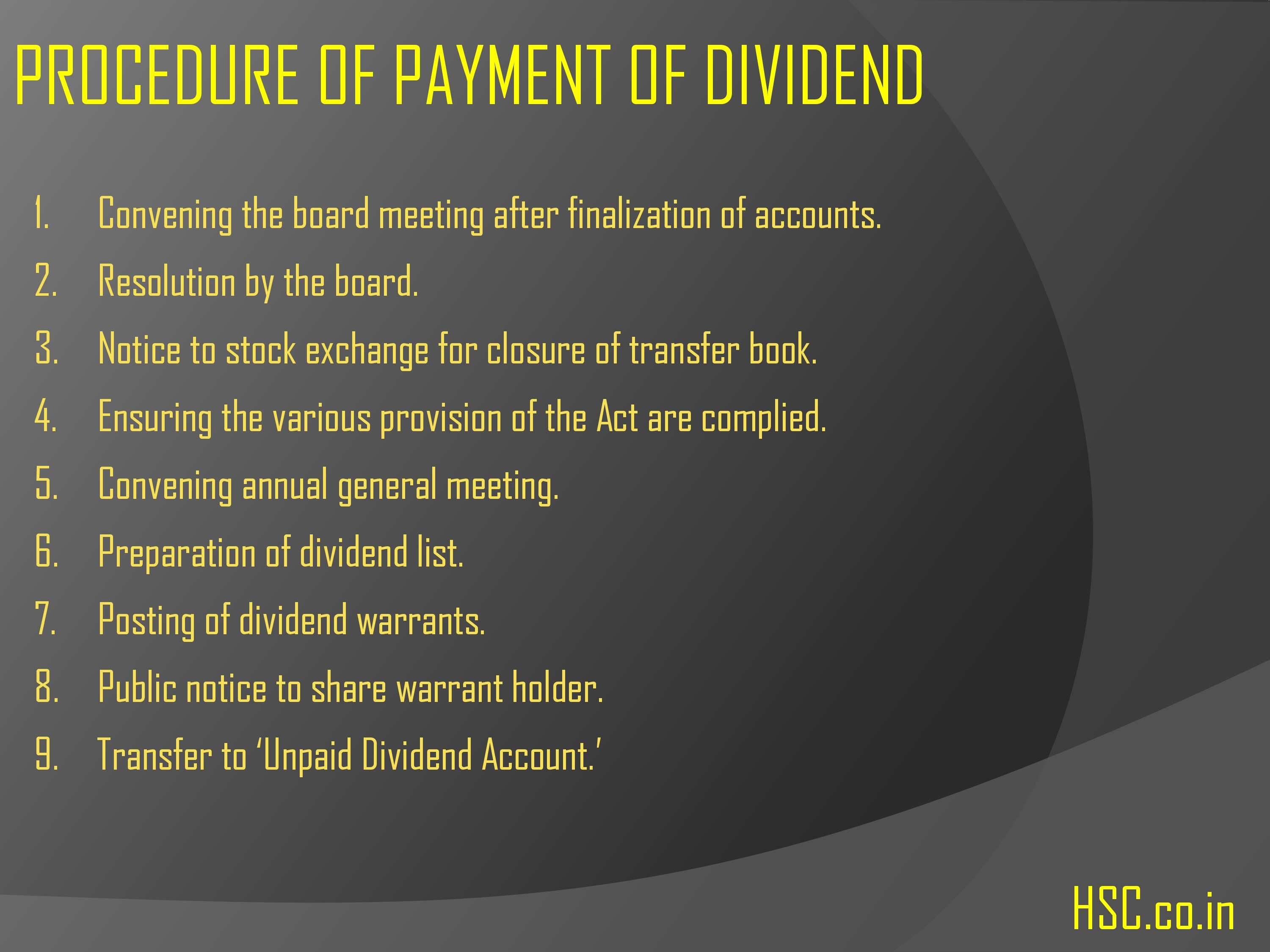 procedure of payment of dividend