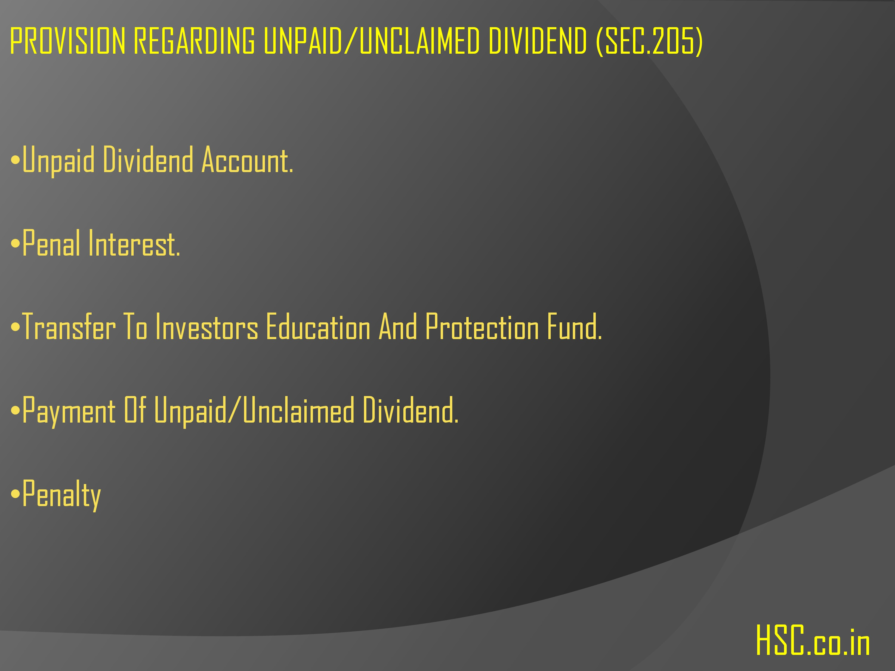provision unpaid/unclaimed