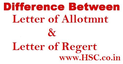 Allotment letter and regret letter