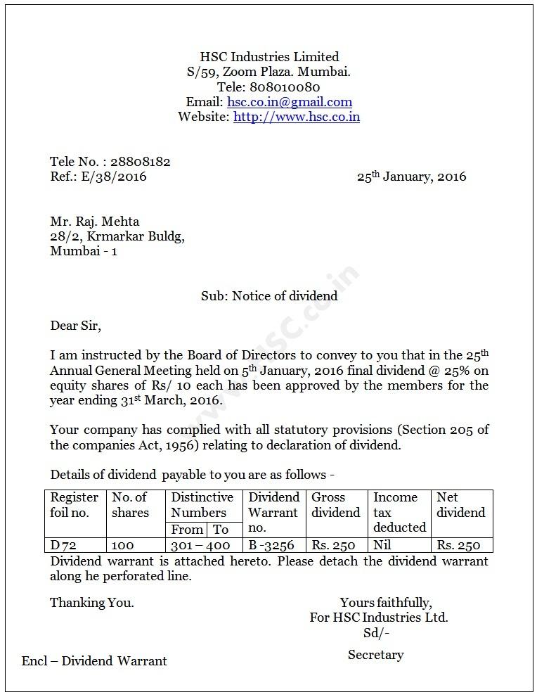 dividend notice letter