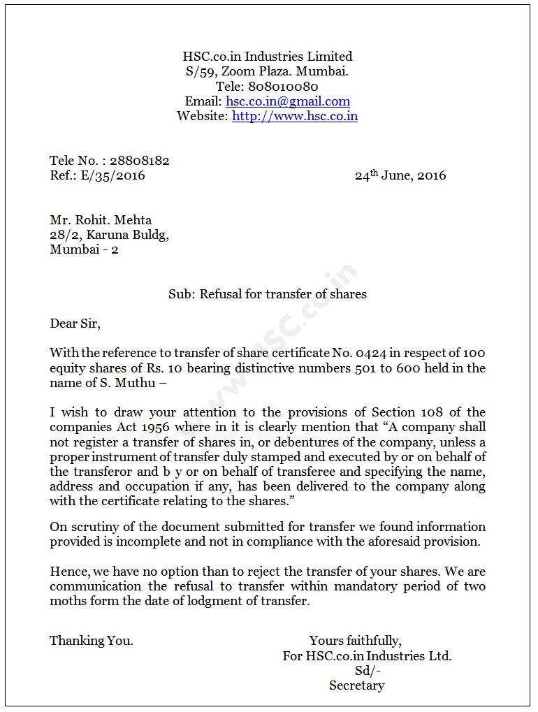 rejection letter for transfer of shares