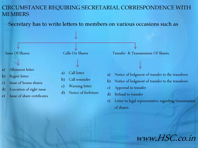 circumstance requiring secretarial correspondence with members