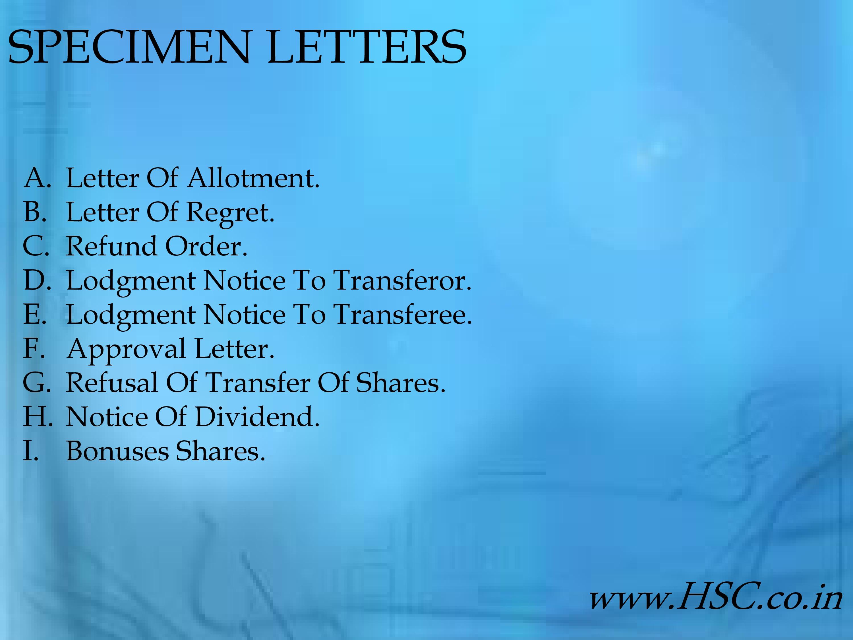 specimen letters