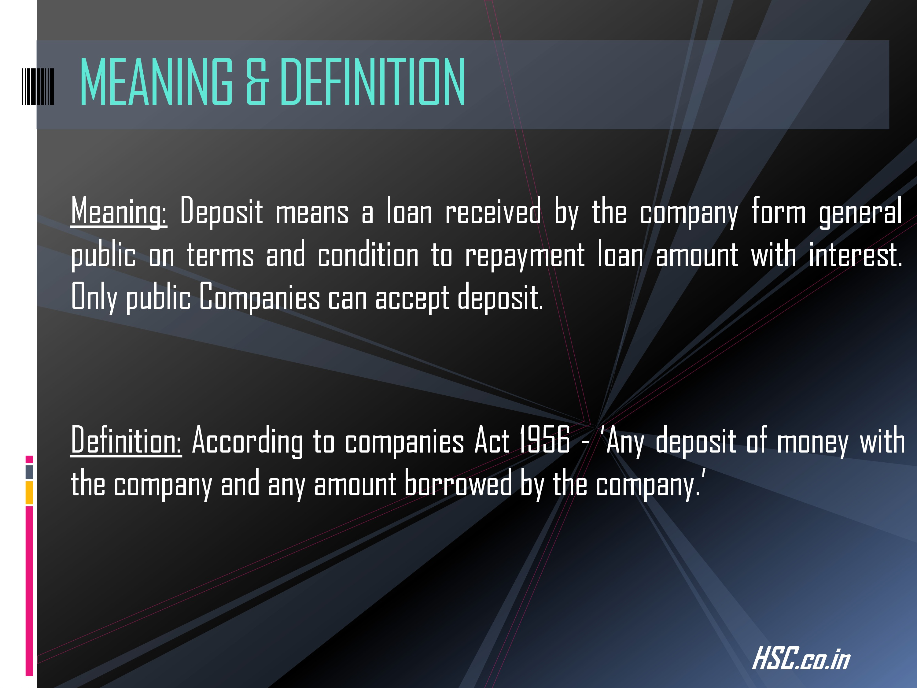 deposits-1 study notes for HSC Board
