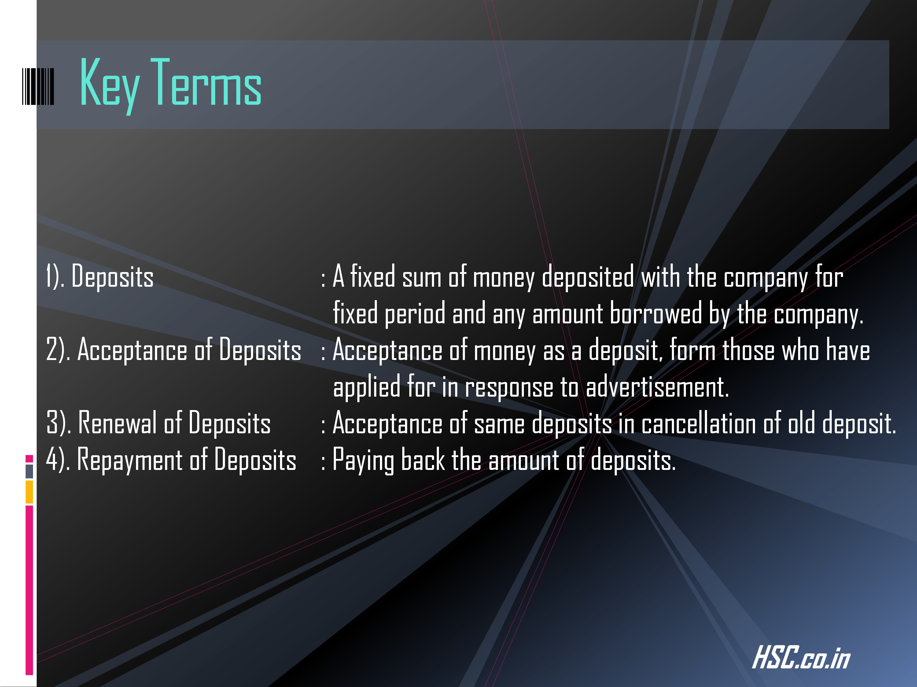deposits-5 s.p study notes for hsc board