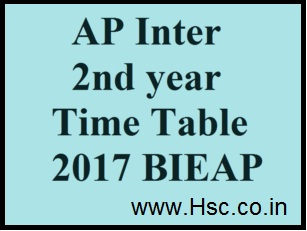 A.P Inter/12th Class Date Sheet 2017