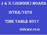 JKBOSE 12th Date sheet 2017